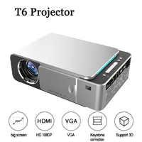 Proyector LED portátil T6 4K 3500 lúmenes 1080P HD Video proyector USB HDMI Beamer para cine en casa proyector opcional Android 7,1