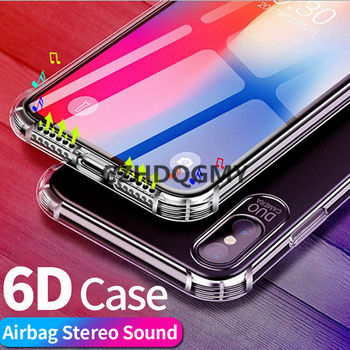 50pcs/lot 6D Stereo Sound Airbag Anti-knock Soft TPU Back Case For iPhone 6 6S 7 8 Plus For iPhone X XS Max XR 11 Pro Max