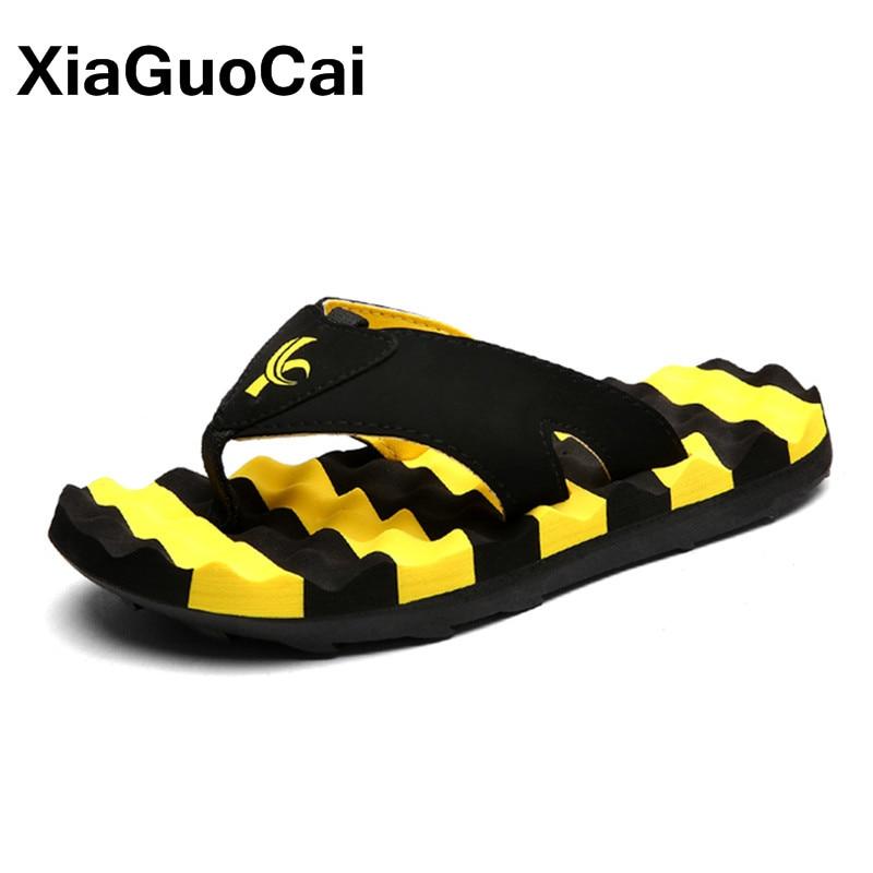XiaGuoCai Summer Fashion Men Massage Slippers Big Size Non-slip Flip Flops For Male 2017 Newest Beach Shoes X37 65 coolsa men s indoor solid non slip massage slippers bathroom home slippers fashion lightweight beach slippers men s flip flops