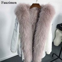 Parka With Real Fur Collar Winter Coats Raccoon Fur Lined Hooded Plus Size korean jacket Outerwear Parkas