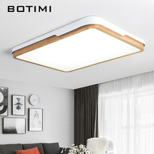 BOTIMI Modern Wooden Retangular LED Ceiling Lights For Living Room White Metal Frame quare Bedroom Lighting with Remote Control