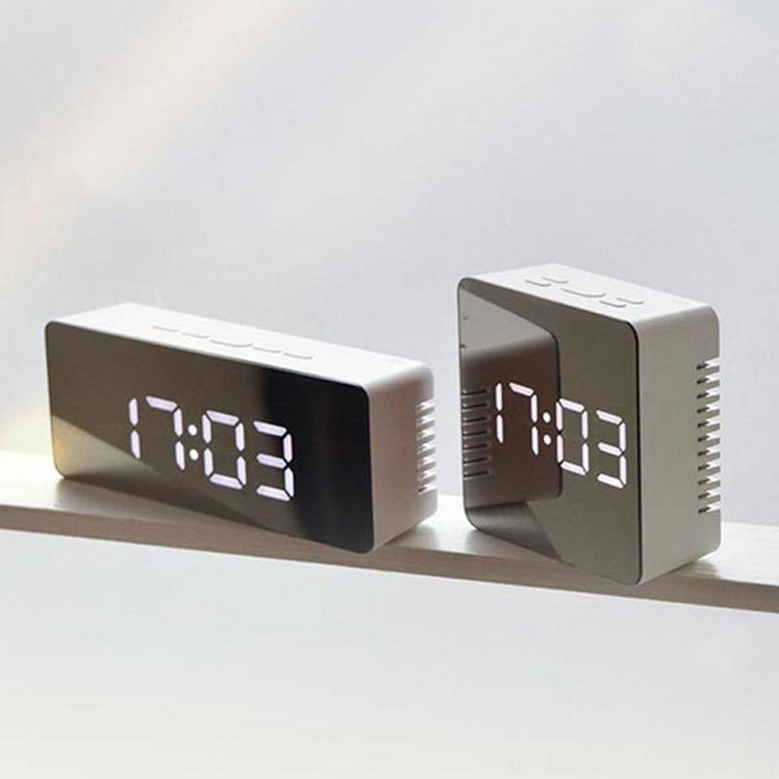 140mm LED Mirror Alarm Clock Digital Clock Snooze Display Time Night Led Light Table Desktop Alarm Clock Despertador title=