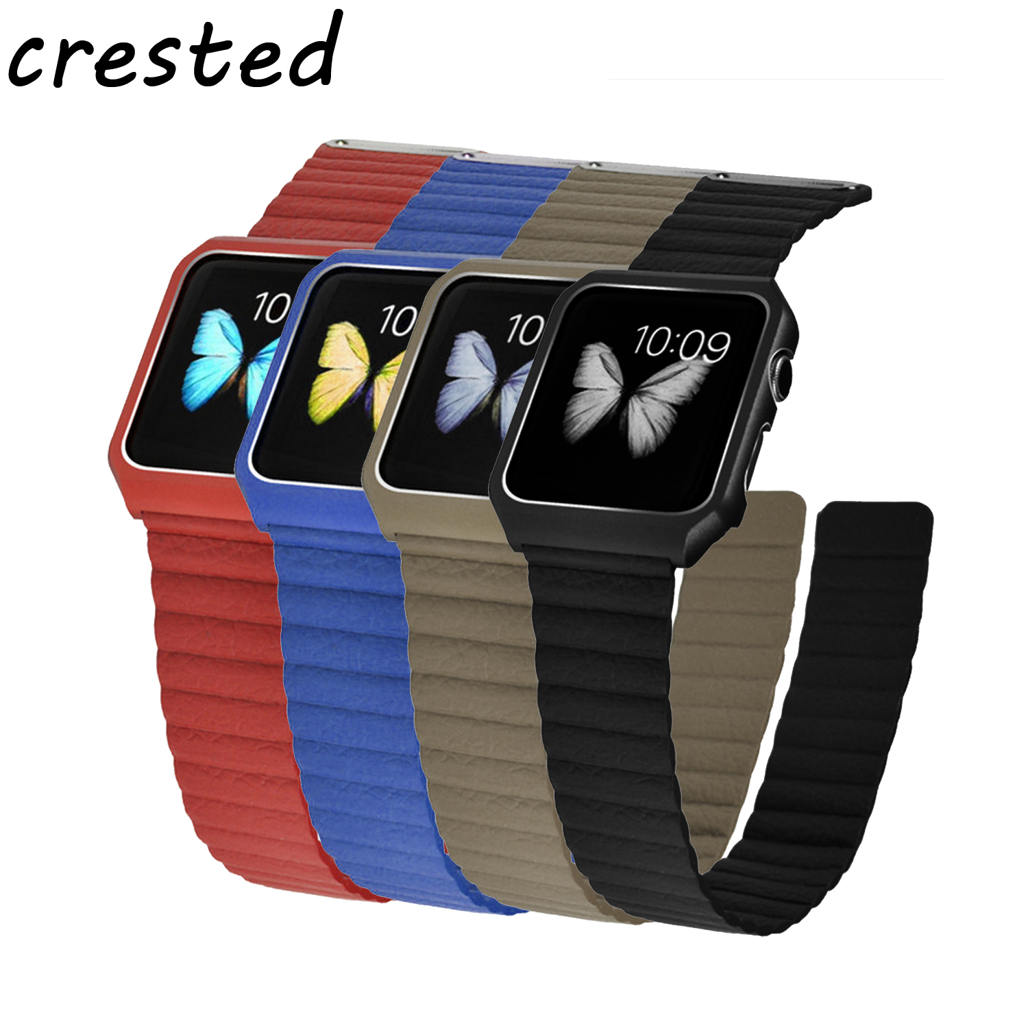 CRESTED Leather Loop strap for apple watch band 42 mm 38 mm & Stainless Steel Metal Case Magnetic Leather Band for iWatch 3/2/1 crested leather strap for apple watch band 42 mm 38 mm watch accessories strap band wrist watch bracelet for iwatch series 3 2 1