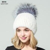 Real Mink Fur Hats Winter 2017 Russian Fur Cap Warm Fox Fur Knitted Beanie Fashion