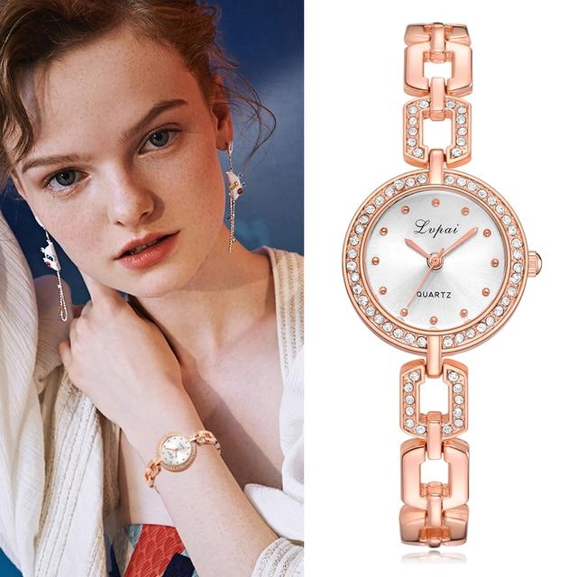 Lvpai Luxury Women Bracelet Watches Crystal Rose Gold Steel Quartz Wristwatches