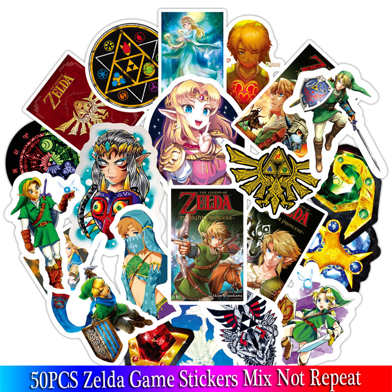 50PCS New Game Stickers Sets Anime Sticker Lot For Laptop Bicycle Phone Guitarl Cartoon Stickers Pack