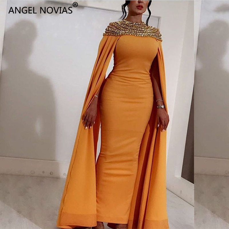 ANGEL NOVIAS Long Yellow Satin High Neck Crystals Abendkleider Saudi Arabic Women   Evening     Dresses   2018 with Caftan hochzeitsklei