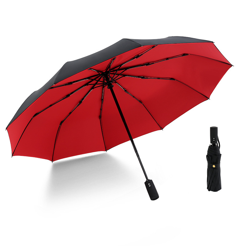 Double Layers Automatic Windproof Umbrella Three Folding Business Anti-wind Ten Bone Enlarged Umbrella for Male and Female