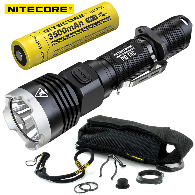 Nitecore P16TAC P16 TAC 1000 Lumens CREE XM-L2 U3 LED Tactical Flashlight 18650 Rechargeable Battery Hunting Search Torchs 3800 lumens cree xm l t6 5 modes led tactical flashlight torch waterproof lamp torch hunting flash light lantern for camping z93
