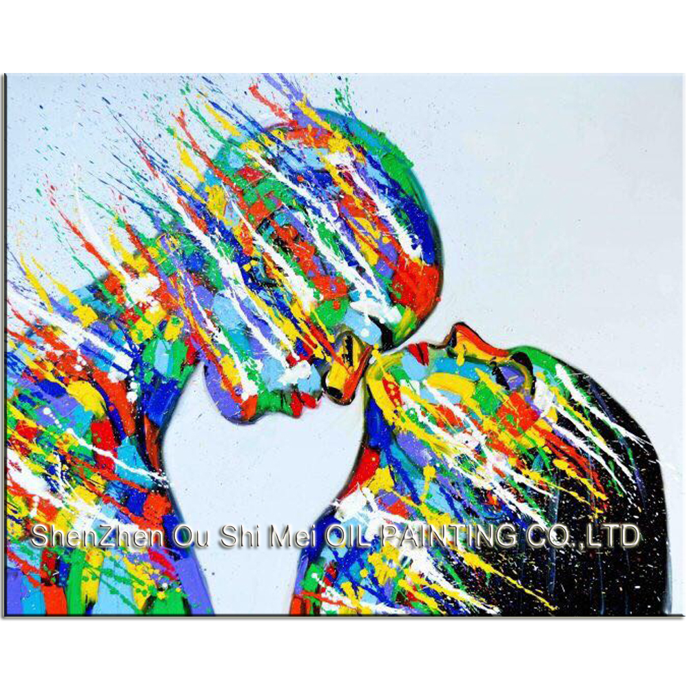 Us 54 0 50 Off Hand Painted Modern Color Face Portrait For Room Decoration Handmade Abstract Lover Character Oil Painting On Canvas Picture In