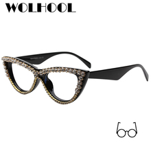 ac1b9571b6 2019 New Fancy Unique Sexy Lady Cat Eye Glasses Frames with Diamond Clear  Lens Fake Glasses