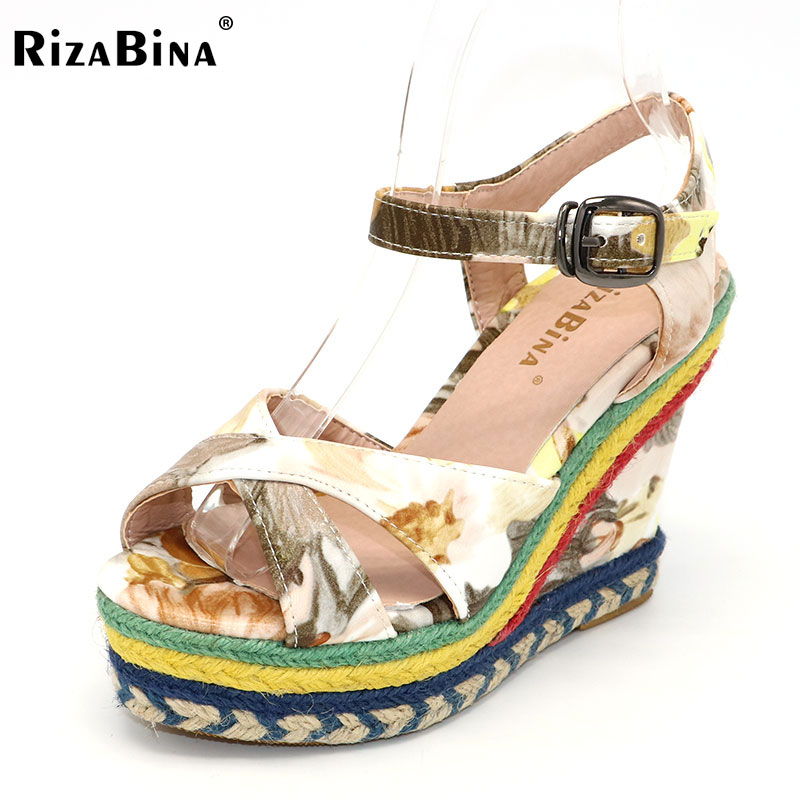 RizaBina Ladies High Wedges Shoes Women Print Flower Buckle Cross Strap Heels Sandals Platform Lady Daily Footwear Size 32-43 new women casual platform wedges sandals fashion cross strap gladiator sandals for women sexy high heels ladies summer shoes