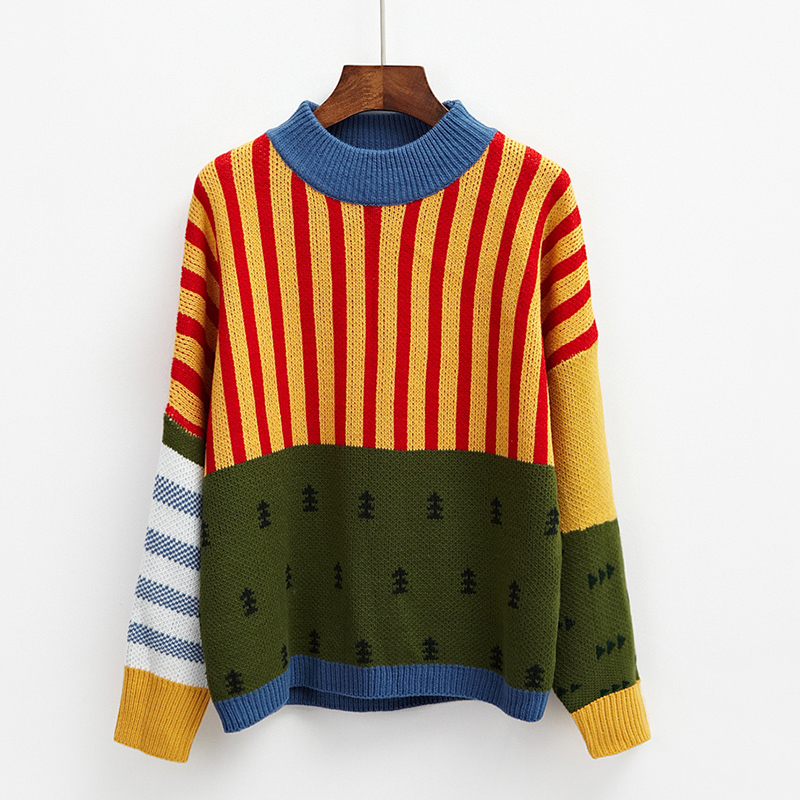 Womens Sweaters Kawaii Ulzzang Loose Wild Color Stitching Knitted Sweater Female Korean Harajuku Jumper Pullover For WomenPullovers   -