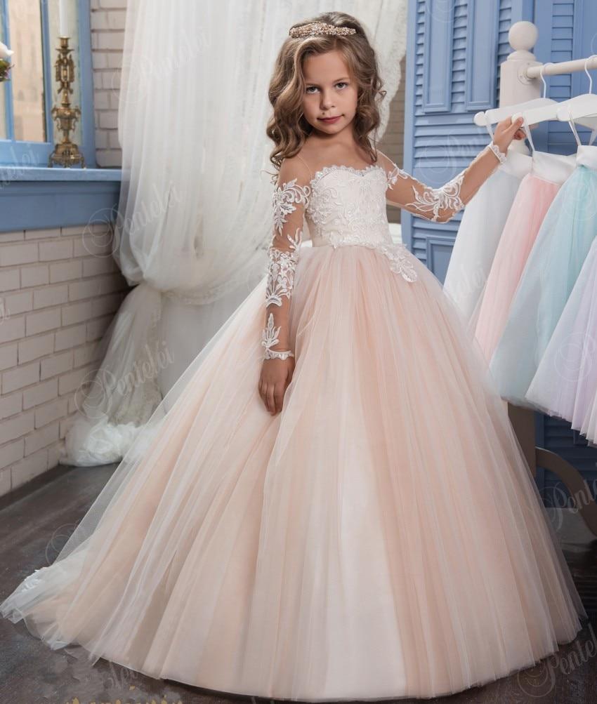 blush robe de bal fleur fille robes pour mariages pas cher dentelle appliques manches longues. Black Bedroom Furniture Sets. Home Design Ideas