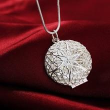 P167 Wholesale Free shipping elegant fashion silver color jewelry charm women noble round pendant necklace Kinsle