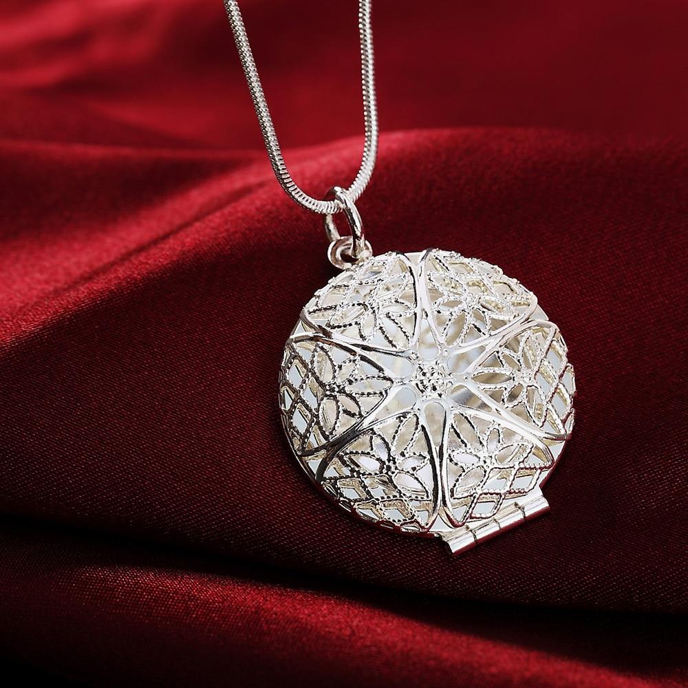 P167 Groothandel Gratis verzending elegante mode verzilverde sieraden charme vrouwen nobele ronde hanger ketting Kinsle