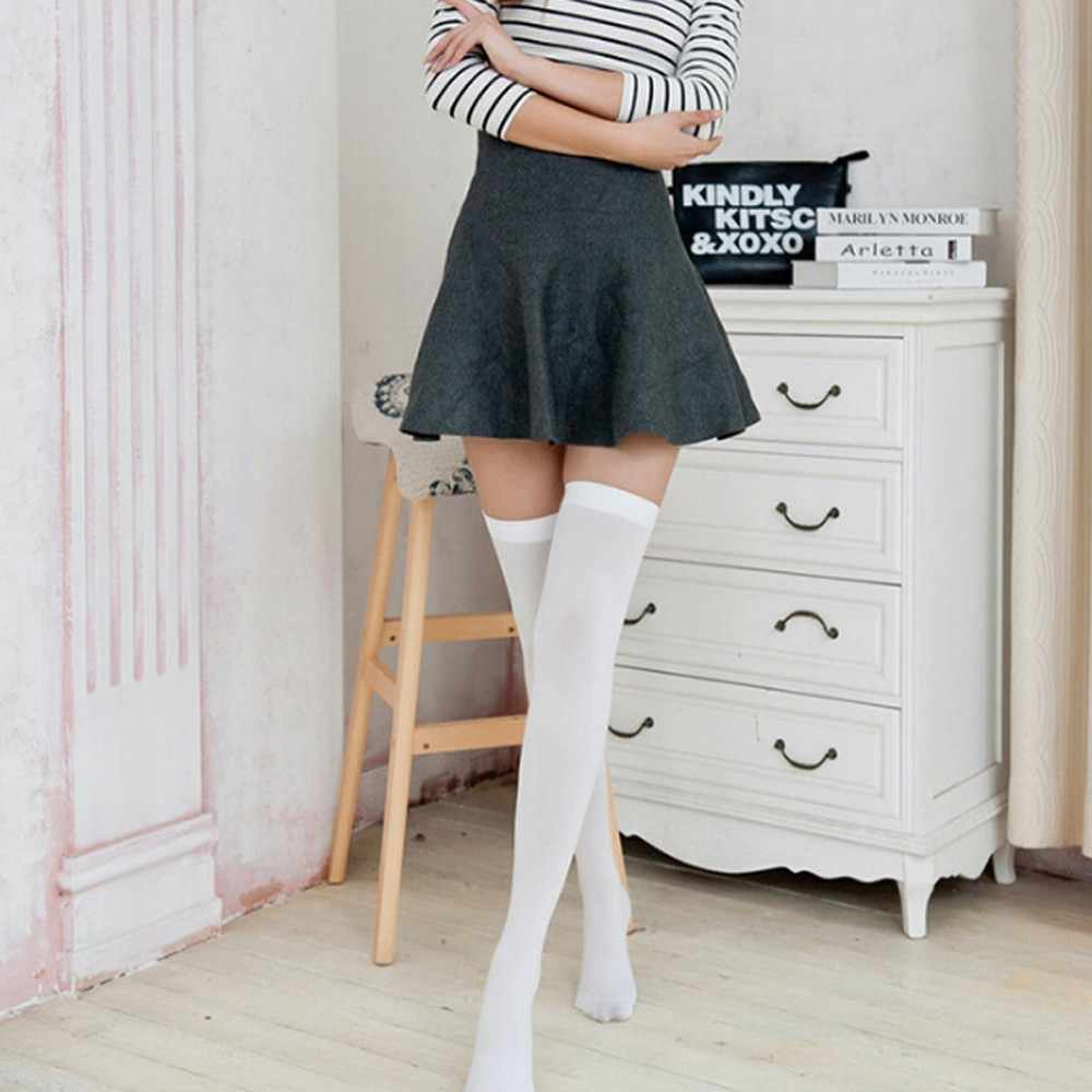 ใหม่ผู้หญิงถุงเท้าแฟชั่นถุงน่องสบายๆผ้าฝ้ายต้นขาสูงกว่าเข่าถุงเท้าสูงฝ้ายหญิงหญิงเข่ายาวถุงเท้า