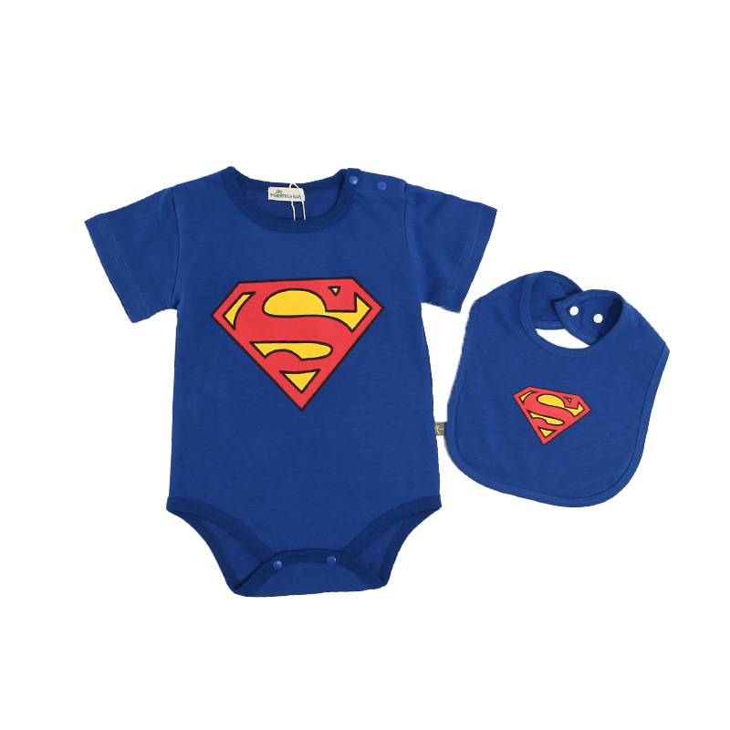 Baby   romper   clothing 2 piece set Superman Batman baby jumpsuit 100% cotton children Roupa De Bebe girls & boys baby clothing