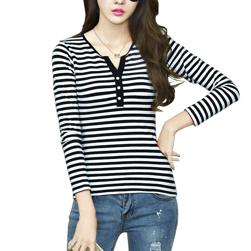 goodforselling  Fashion 2016 Autumn Women White Black Stripe Shirts Blusas Long Sleeve O-neck Roupas Femininas Loose Tee Shirt Ladies Casual To