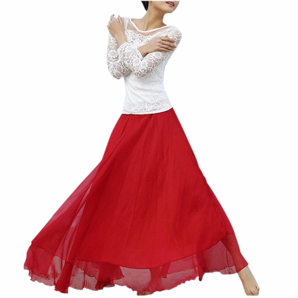 Fashion Bohemian Princess Skirt Pleated Maxi Skirt Multi Colors Amazing Chiffon Women Long Skirt High Quality