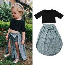 Модная одежда для маленьких девочек; пуловер с круглым вырезом и короткими рукавами; топы; однотонные бандажные шорты; комплект из 2 предметов; хлопковая одежда для новорожденных