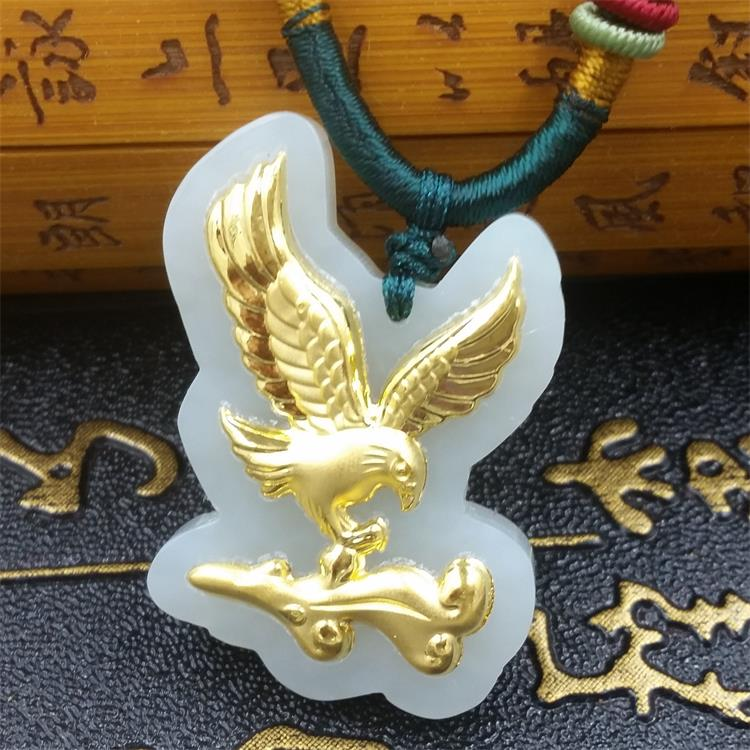 Natural HeTian Yu white jade Mosaic Seize the opportunity Da zhan hong tu eagle amulet Necklace + Certificate Fashion Jewelry