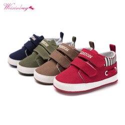 Bebê recém-nascido meninos algodão tornozelo lona rasa moda berço sapatos casuais sapatilha da criança primeiros caminhantes