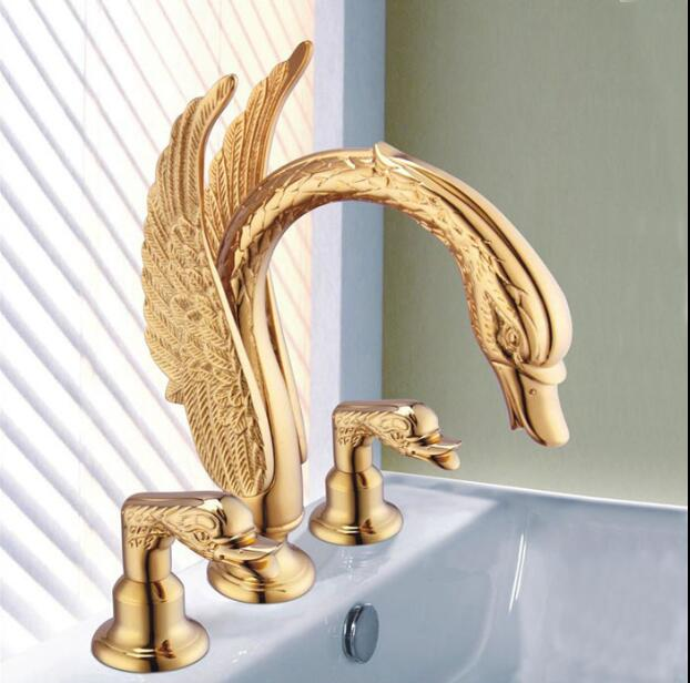 Deck Mounted Bathroom Faucet Swan Basin Sink Mixer Tap Golden Brass 3 Holes Basin Faucet Wholesale And Retail water tap luxury golden brass phoenix deck mounted bathroom basin faucet sink water mixer tap