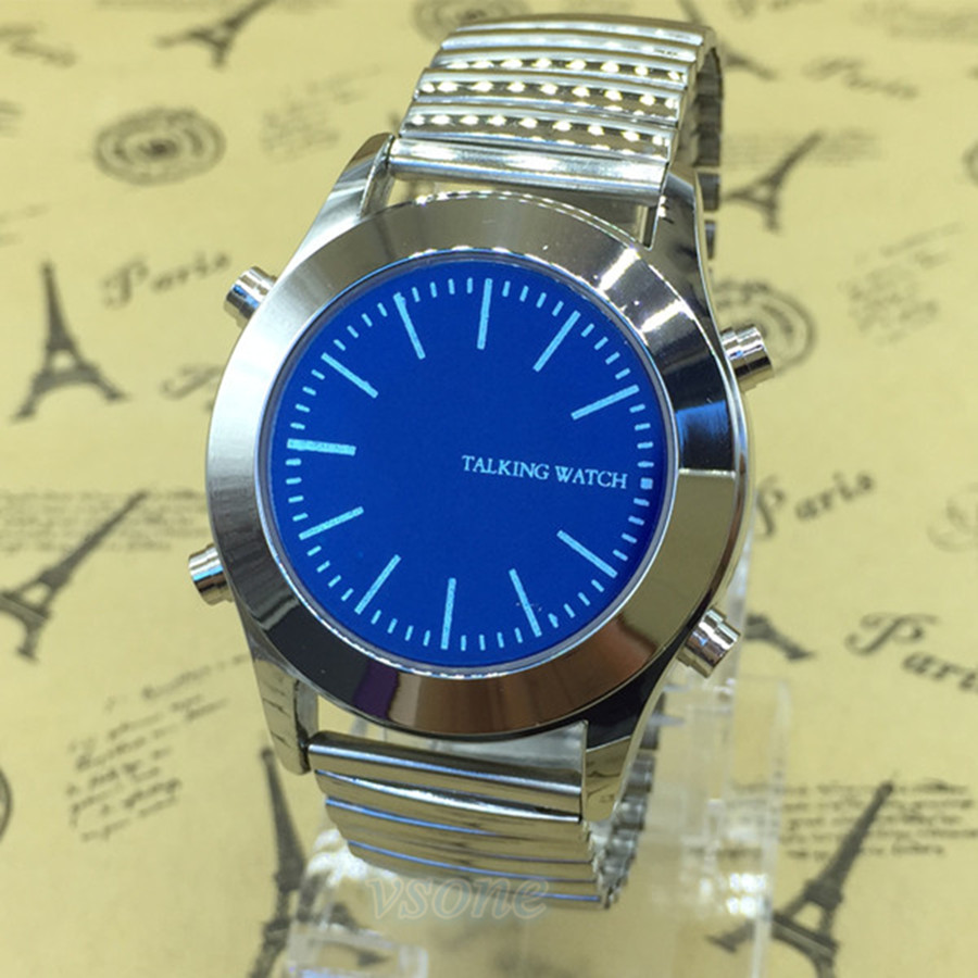 Arabic Talking Watch Unisex Quartz With Blue Dial And Silver Stainless Steel Bracelet