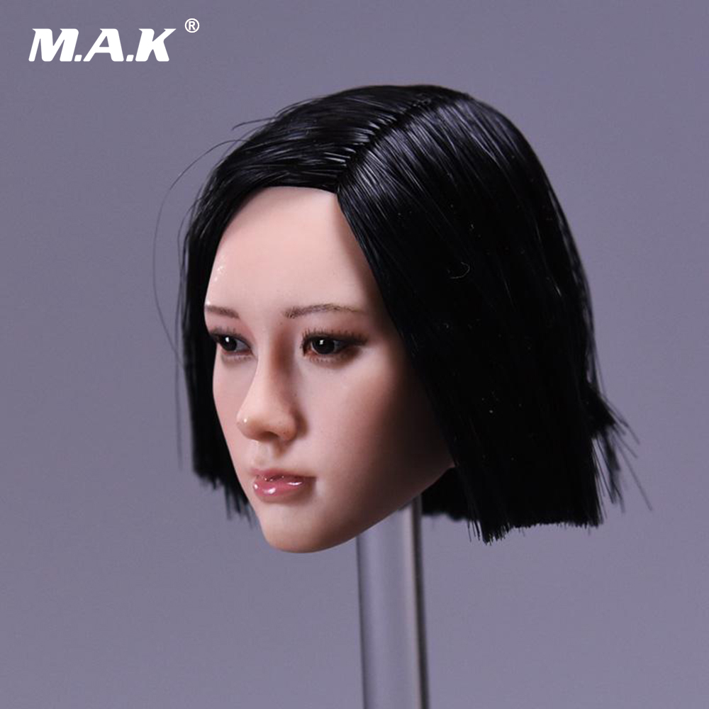 1 6 Asian Star Women Black Short Hair Head Sculpt Model for 12 inches Female Action