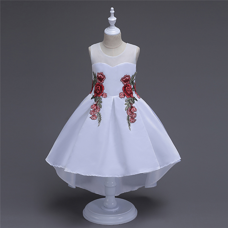 Embroidery Flower Girl Dress Trailing Chinese Style Kids Clothes Girl Bithday Party Dress Evening Gowns High Low Princess Dress lace high low swing evening party dress