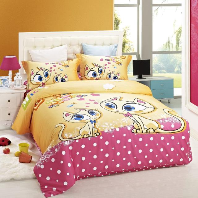 duvet cover kids bed cat print bedding set children girls girls bedding sets full twin size 100. Black Bedroom Furniture Sets. Home Design Ideas