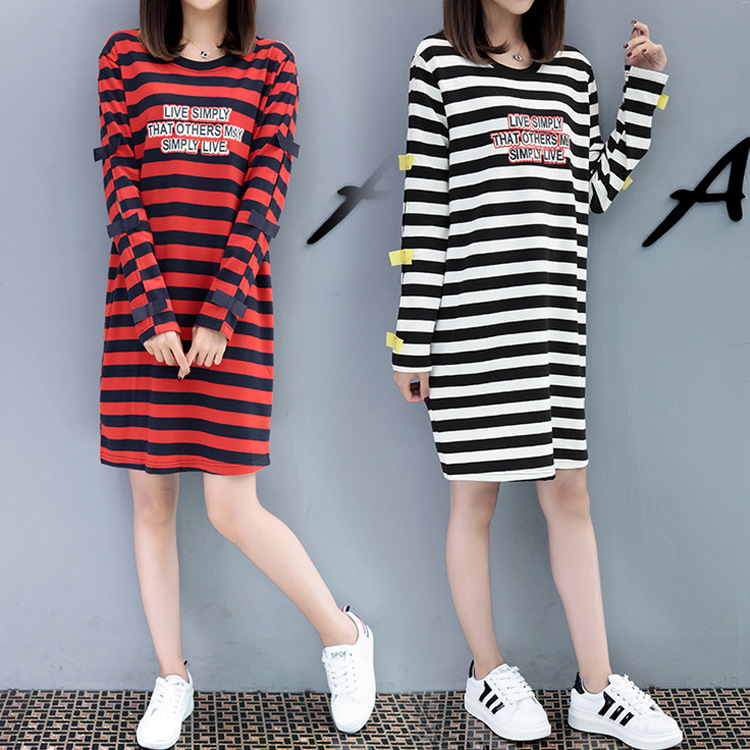 Autumn and winter large size womens striped dress pregnant women dress printing