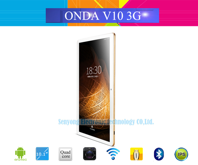 Onda V10 3G Phablet 10.1'' IPS 1280*800 Screen Android 5.1 MTK8321 1.3GHz Quad Core 1GB/16GB GPS Phone Call Dual Sim Card Tablet