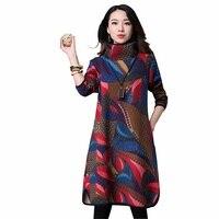 Vintage Plus Size Casual Maternity Thick Autumn Winter Dress Women Cotton Padded Maxi Long Dress Vestidos