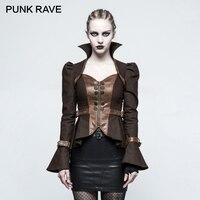 Панк RAVE панк рок Для женщин Повседневное баски с длинным рукавом Короткая куртка стимпанк готический женский полупальто Карнавальная одеж