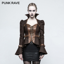 PUNK RAVE Punk Rock Women's Casual Peplum Long Sleeve Short Jacket Steampunk Gothic Female Short Coats Cosplay Clothing