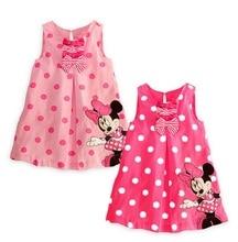 2016 wholesales summer New Cute Baby Girls Summer One-piece Dress Children Sundress Kids Cute Minne Sleeveless Dress