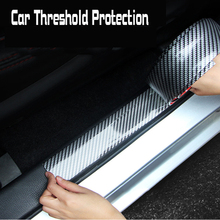 цена на 1M 5-10cm Car Door Sill Cover Strip  Carbon Fiber Style Threshold Step Guard Strip Stickers Plate Anti-Kick Panel Protector