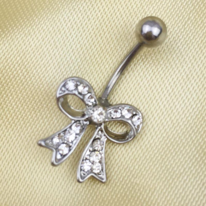 HTB1BEJbRXXXXXaCXXXXq6xXFXXX8 Bow Knot Style Crystal Navel Ring Belly Button Body Piercing Jewelry For Women