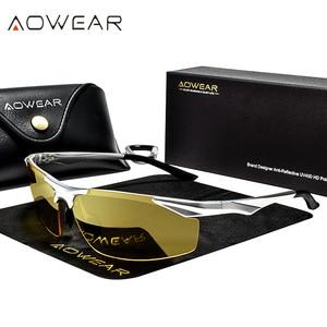 Image 2 - Aowear男性の偏ナイトビジョンメガネ駆動ゴーグルアルミ黄色サングラス男性高品質のドライバー眼鏡