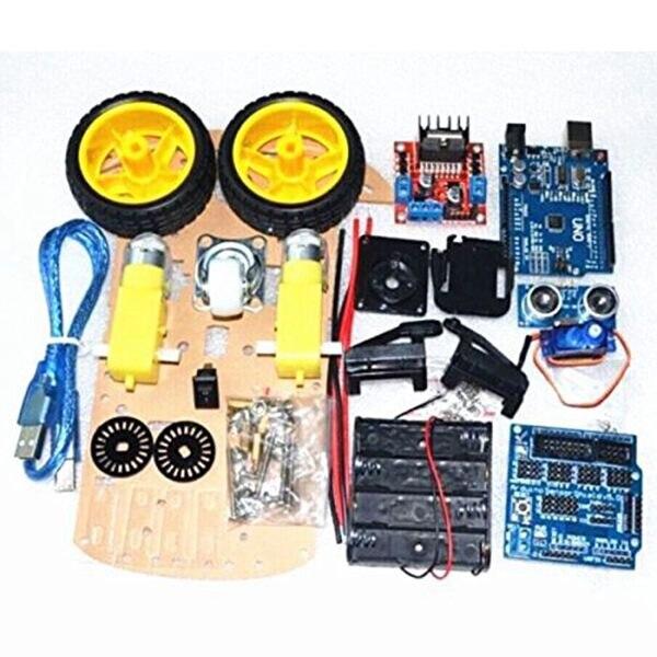 LCLL-Suivi Intelligent De Voiture Moteur Intelligent Robot Châssis De Voiture 2WD Kit Ultrasons HC-SR04 Capteur pour Arduino DIY
