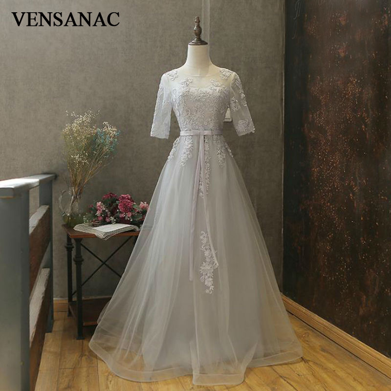 VENSANAC 2017 New A Line Embroidery O Neck Long Evening Dresses Half Sleeve Elegant Draped Sash Party Prom Gowns in Evening Dresses from Weddings Events