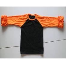 orange and black novelty t-shirt patchwork sleeve shirts hallaween ruched shirt sleeve tees