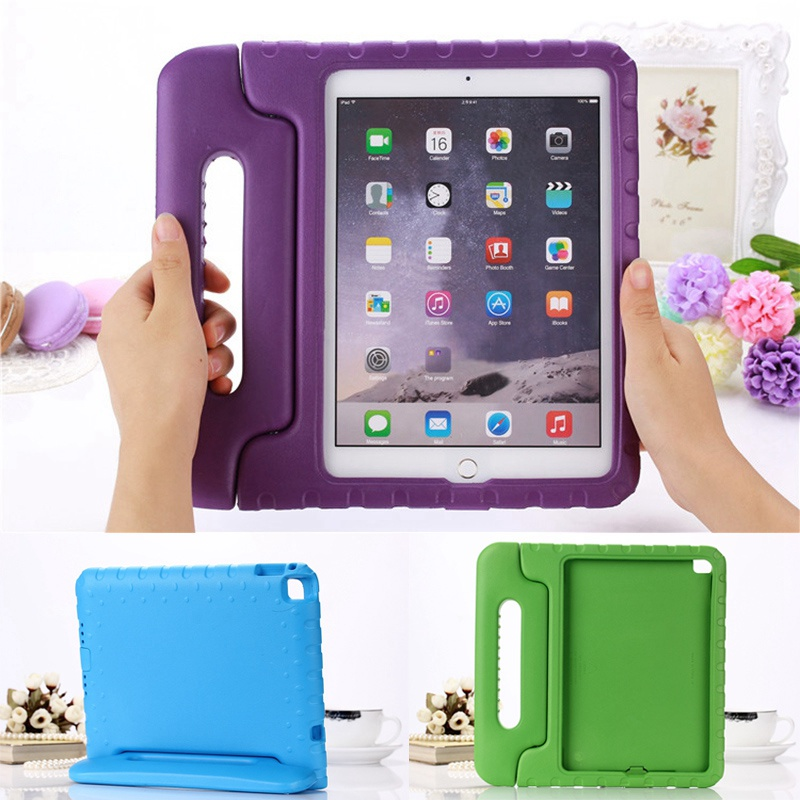 все цены на  Case for ipad air 2 / ipad 6 hand-held Shock Proof EVA full body cover Handle stand Kids Safe Silicone para shell coque housing  онлайн