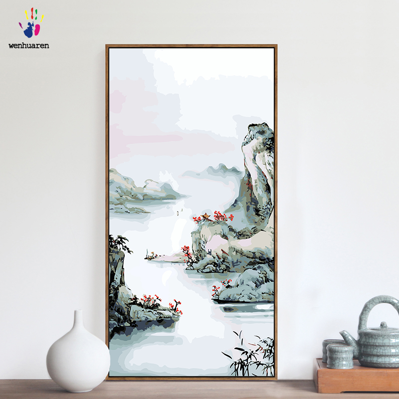 DIY colorings pictures by numbers with colors Chinese landscape scenery picture drawing painting by numbers framed Home