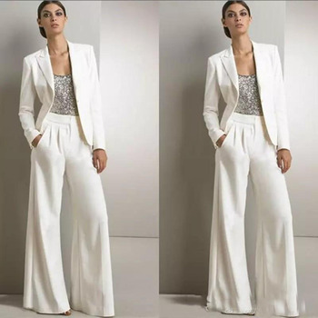 White Three Pieces Mother Of The Bride Pant Suits With Jackets Long Sleeves Sequins Vest Outfits vestido de madrinha farsali
