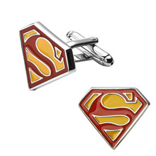 Men's shirts Cufflinks high-quality copper material  Red yellow Superman Cufflinks 2 pairs of packaging for sale