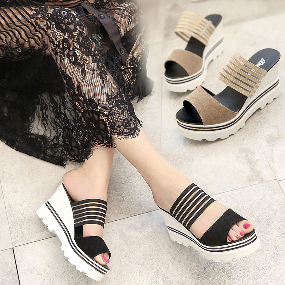 Fashion Casual Women Fish Mouth Platform High Heels Wedges Sandals Open Toe Shoes Slippers Slip-On  Peep Toe Outside Basic