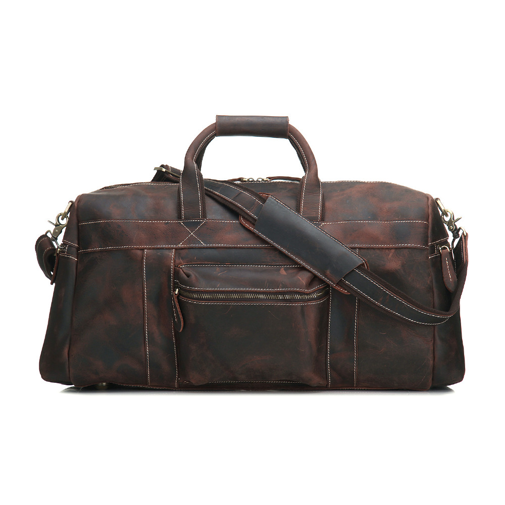 YISHEN Vintage Crazy Horse Leather Men's Travel Bags Tote Duffel Bag Genuine Leather Luggage Bag Men Shoulder Bag Handbag MS1098 7077r crazy horse leather unisex dark brown huge luggage bag tote bag travel bag